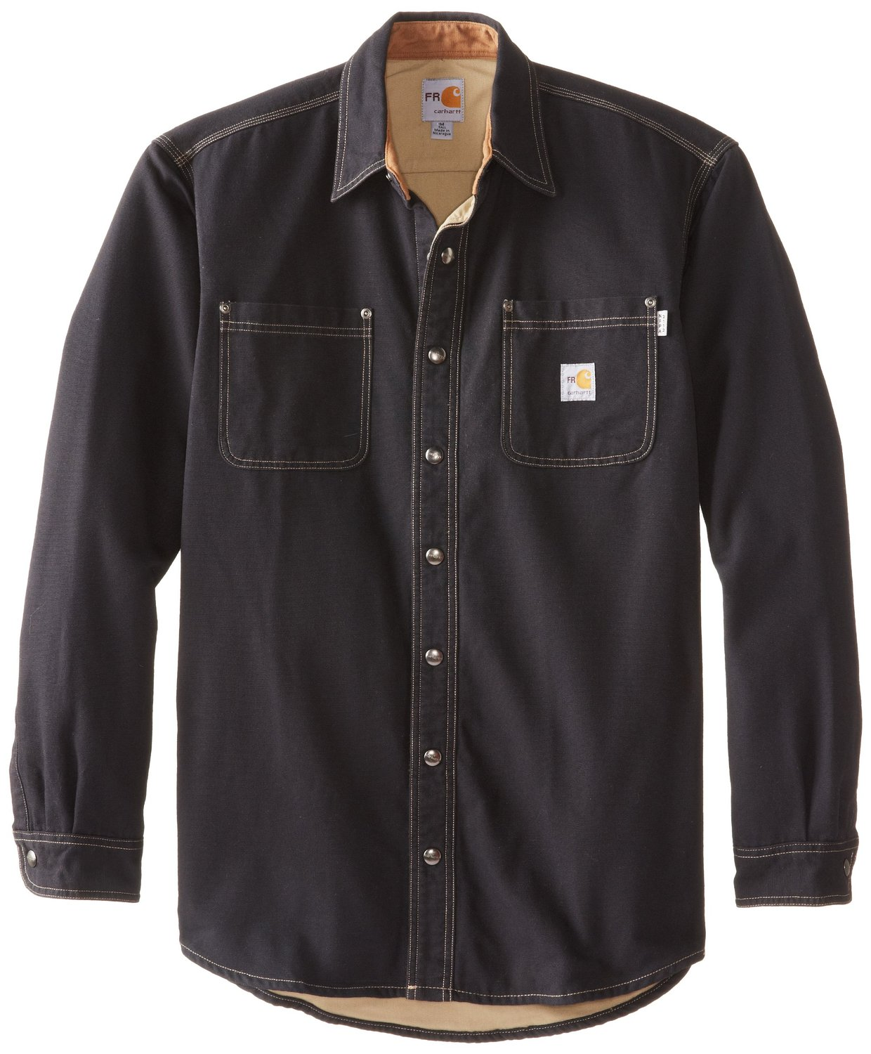 5f0acd67a1ae Carhartt 100432BLK Flame Resistant Canvas Shirt Jac