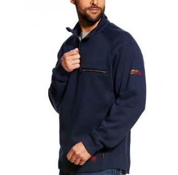 Ariat 10022333 Flame Resistant 1/4 Zip Sweatshirt - Navy