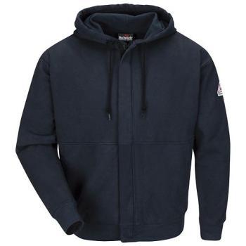Bulwark SEH4NV FR Navy Zip-Front Hooded Sweatshirt