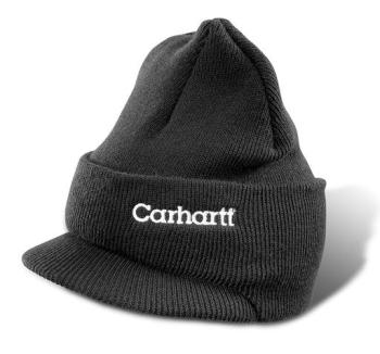 Carhartt A164BLK Black Winter Knit Hat With Visor