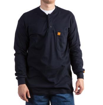 Wrangler FR3W8NV Flame Resistant Henley Work Shirt