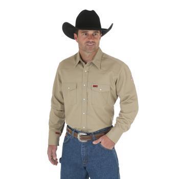 Wrangler FR12140 Flame Resistant Long Sleeve Khaki Work Shirt